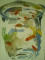 Paintings - Still Life With Goldfish - Watercolor