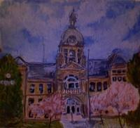 Paintings - Town Hall Vinton - Mixed Media