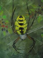 Garden Spider Amoung The Berries - Acrylic Paintings - By Mary Fitzgerald, Acrylic Painting Artist