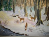 Animals Birds - Winter Feeding - Acrylic