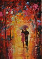 Falling In Love - Oil On Canvas Paintings - By Maria Slynko, Impressionism Painting Artist