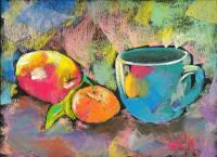 Still Life - Still Life With Mandarine And Apple - Pastels