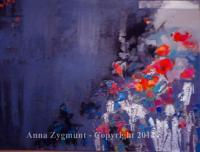 Misty Flowers - 2013 - Oil On Canvas Paintings - By Anna Zygmunt, Abstract Painting Artist