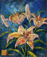 Wwwrybakowcom - Flower Oil Knife Painting Bouquet Of Flowers Near The Studio - Oil On Canvas