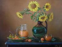 Sunflowers - Oil On Canvas Paintings - By Sergiy Sokirskiy, Realism Painting Artist