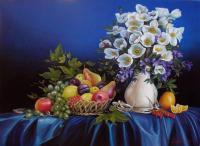 Still Life On A Blue Satin - Oil On Canvas Paintings - By Sergiy Sokirskiy, Realism Painting Artist
