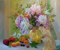 Flowers On The Window - Oil On Canvas Paintings - By Sergiy Sokirskiy, Realism Painting Artist