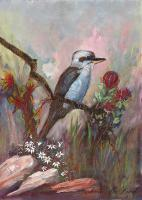 Birds And Floral - Kookaburra And Wild Flowers - Gouache