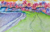 Patnem Beach - Water Color Paintings - By Virginia -, Expressionist Painting Artist
