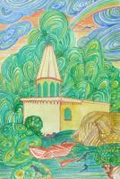 Ganesh Temple Di Talpona - Water Color Paintings - By Virginia -, Landscape Painting Artist