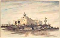 Western Landscapes - Spanish Mission - Watercolour