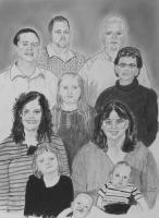 People - Enman Family Portrait - Charcoal And Graphite