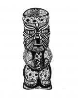 Ink Drawings - Tiki - Pen And Ink