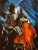 Contrabass - Oil On Canvas Paintings - By Em Kotoul, Realism Painting Artist