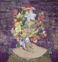 Floral Face 1 - Mixed Media On Wood Mixed Media - By Minas Halaj, Modern Mixed Media Artist