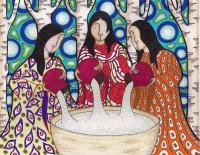 Serenity Three - Coloured Pencilink And Marker Drawings - By Suzan Zaman, Native Contemporary Drawing Artist