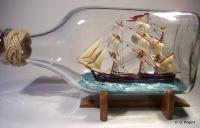 Ship In Bottle - Hms Bounty - Wood Thread Paper Paint Etc Woodwork - By Gabrielle Rogers, Square Rigger Woodwork Artist