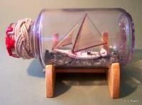 Ships In Bottles - Ship In Bottle - Chesapeake Bay Skipjack - Wood Thread Paper Paint Etc