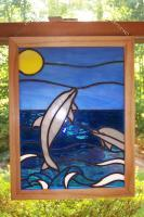 Playful Dolphins - Glass Glasswork - By Gabrielle Rogers, Nature Glasswork Artist
