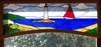 Stained Glass - Sailing Past Newpoint Lighthouse - Glass