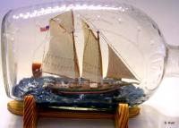 Ships In Bottles - Chesapeake Bay Punghy Schooner - Wood Thread Paint Etc