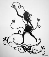 Silhouette Papercut - Chasing Butterflies - Paper