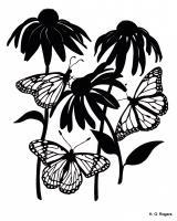 Silhouette Papercut - Monarchs In The Cone Flowers - Paper
