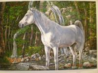 Animals - Horse By The Stream - Oil