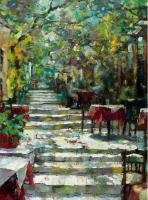 Mnisikleous Str Athens - Oil On Canvas Paintings - By Viktor Zakrynycny, Impressionism Painting Artist