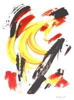 Abstract Art - Burning Banana - Acrylic On Black Paper