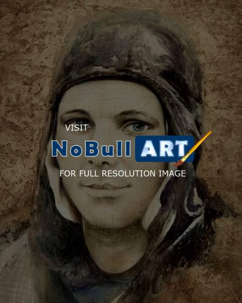 Portrait - Spaceman Y.Gagarin - Oil On Board