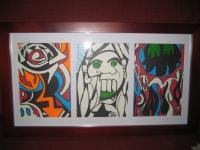 Pop Art In 3 Section Frame - Acrylic And Paint Marker Paintings - By Phillip Vaughn, Abstract Art Pop Art Painting Artist