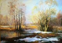 Spring Landscape - Oil On Canvas Paintings - By Jan Bartkevics, Landscape Painting Artist