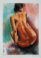 N-102 - Pastels Drawings - By Jacques Benatar, Nudes Drawing Artist