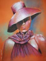 South African Lady - Pastels Paintings - By Jacques Benatar, Realistic Painting Artist