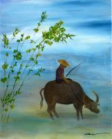 Scenery - Boy And His Water Ox - Acrylic On Canvas