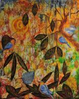 Shades Of Fall - Mixed Media On Canvas Mixed Media - By Gopa Ghosh, Abstract Realism Mixed Media Artist