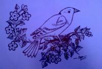 A Bird In Wait - Paper Drawings - By Sangeetha Prasad, Marker Sketch Drawing Artist