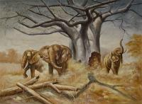 Animals - Elephants - Oil On Canvas