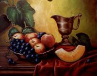 Fruits - Fruit And Ketlle - Oil On Canvas