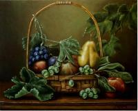 Fruits - Basket With Fruits - Oil On Canvas