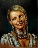Girl With A Pearl Earrings - Oil On Canvas Paintings - By Jozi Mesaros, Realism Painting Artist