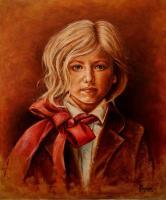 Portraits - Girl With Red Bow - Oil On Canvas
