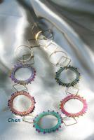 Necklaces - Golden Colorful Beaded Rings - Waving Beads