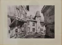 Cityscape - Saint Haon Le Chatel - France - - Pencil On Paper -