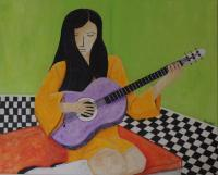 Girl With Guitar - Acrylic On Canvas Paintings - By Michael Piscatelli, Abstract Painting Artist