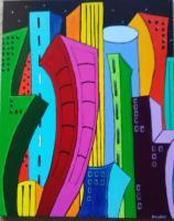 Forms Of Expression - Cityscape At Night - Acrylic On Canvas