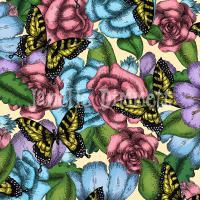 Flowers And Butterflies - Photoshop Digital - By Janelle Dimmett, Illustration Digital Artist