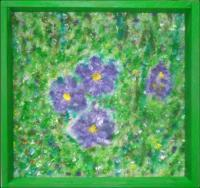 Walls Decoration - Violets In The Wild - Acrylics On Fur