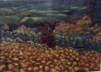 Vineyard 2 - Oil Pastels Paintings - By John Mccullough, Post Impressionism Painting Artist